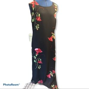 Jessica Howard | Black Red Floral Maxi Dress